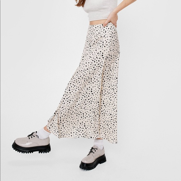 Cheetah Print Satin MIDI Skirt